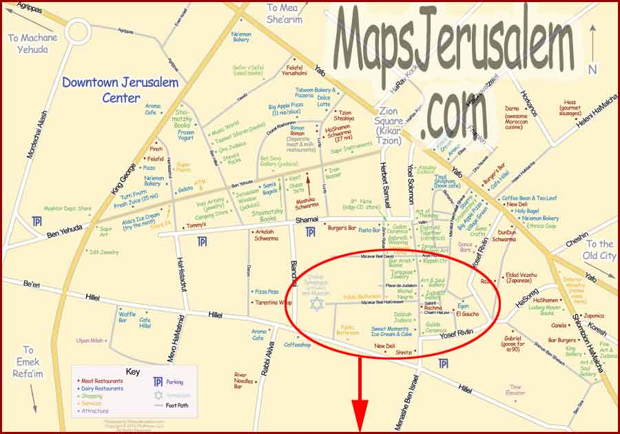 Downtown Jerusalem Map